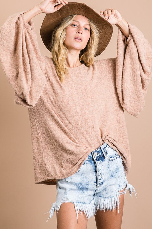 Soft Brushed Solid Balloon Sleeves Round Neck Top