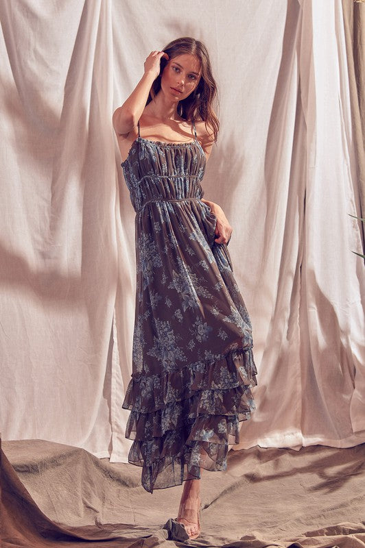 BROWN BLUE FLORAL MAXI DRESS