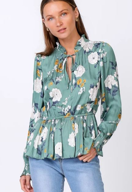 Floral Cinched Waist Long Sleeve Blouse