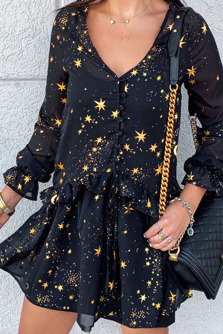 Shimmer Ruffle V Neck Stars Print Long Sleeve Casual Short Dress