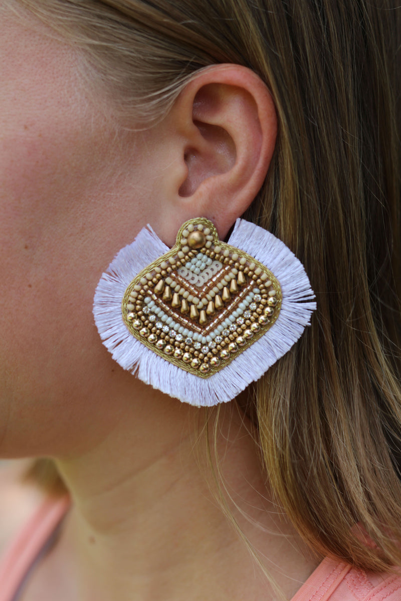 Beaded Fan Post Earrings