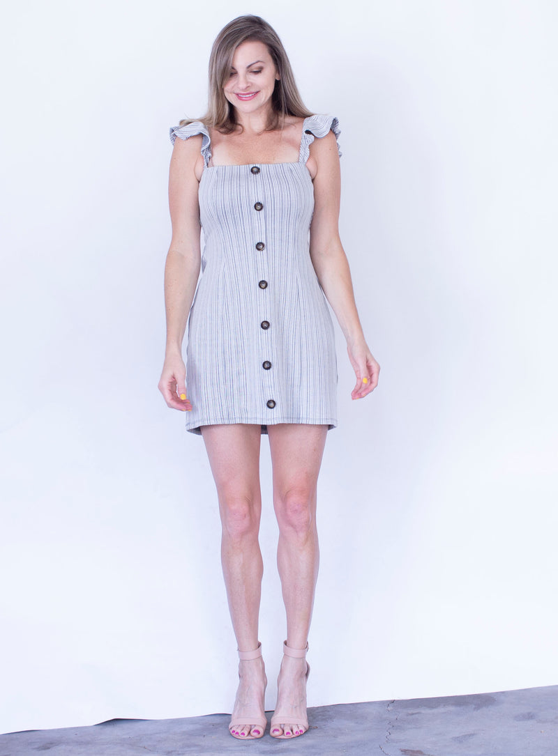 Striped Button Mini Dress by MinkPink