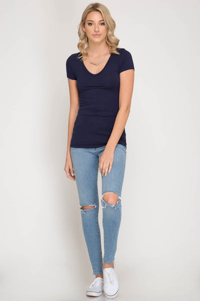 Lux Short Sleeve Basic Top