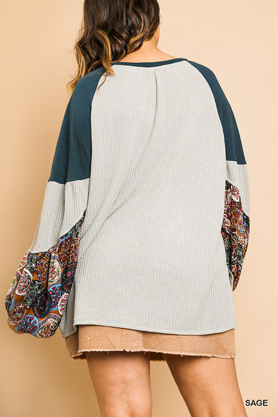 Plus Size Waffle Knit Top with Floral Puff Sleeves