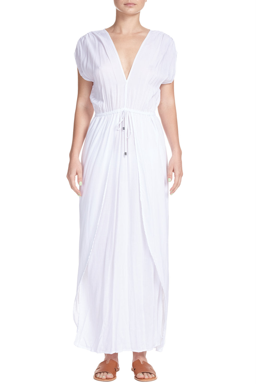 Deep V Wrap Front Maxi Dress