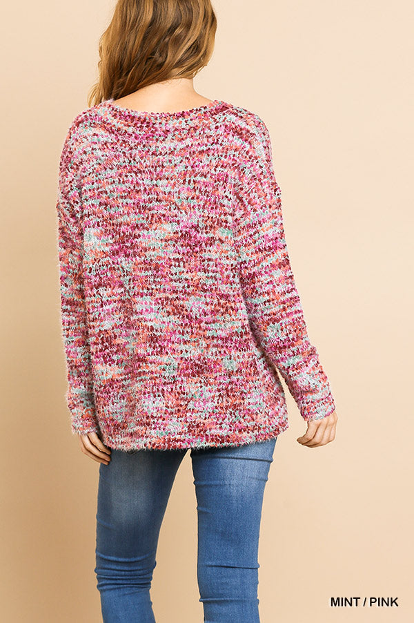 Boucle Long Sleeve Pullover Sweater
