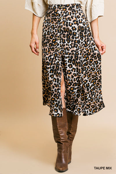 Animal Print Button Down Midi Skirt