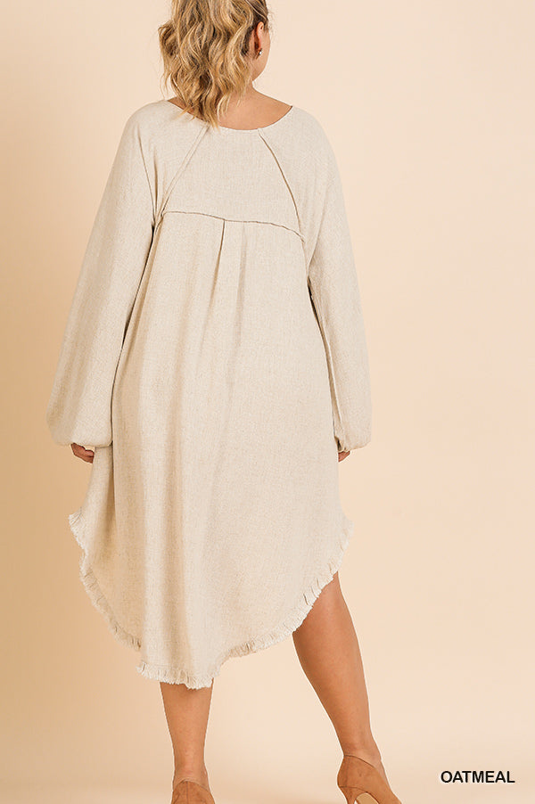 Fishtail Ruffle Hem Linen Dress