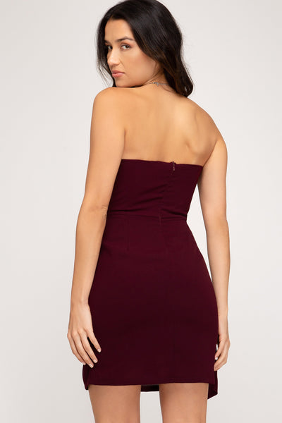 Side Tie Strapless Dress