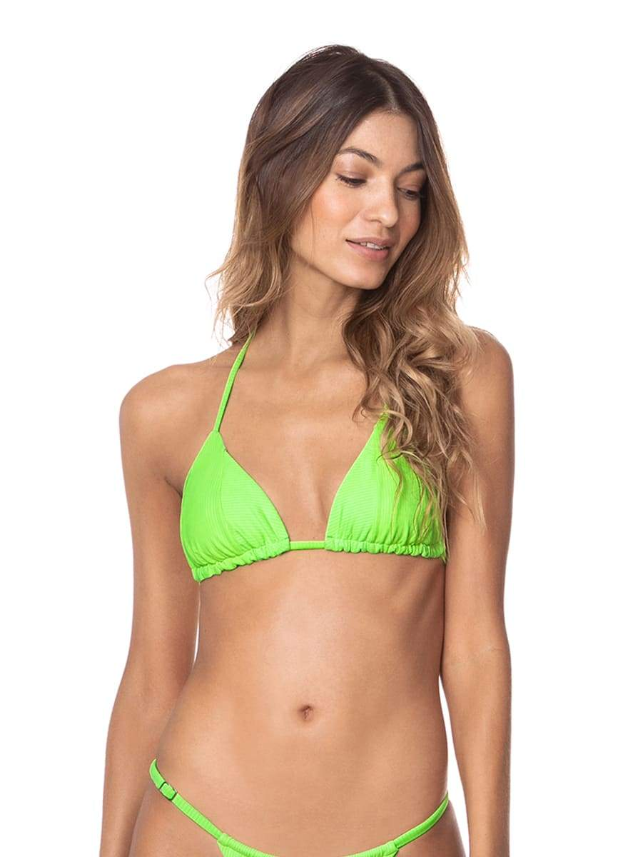 Maaji Limeade Green Edge Sliding Triangle Bikini Top