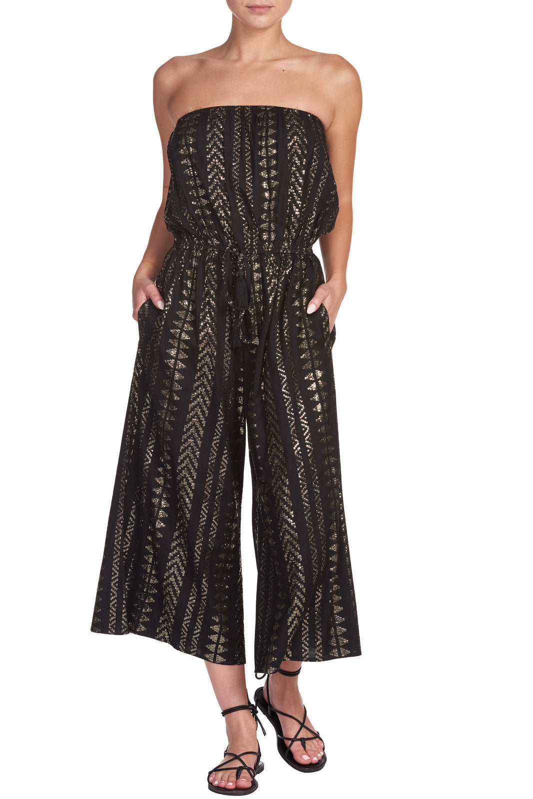 Strapless Coulotte Jumpsuit  with Gold Detail