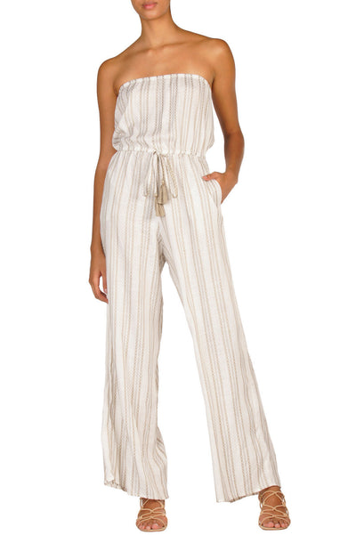 Strapless Natural Stripe Jumpsuit