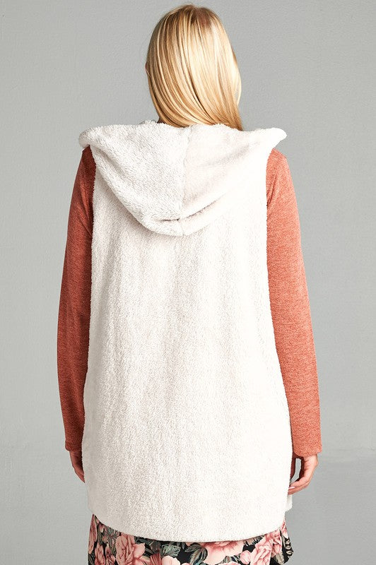 Plus Size Faux Fur Open-Front Hooded Vest