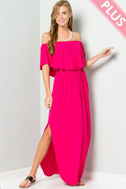 Plus Size Off Shoulder Maxi Dress with Ruffle