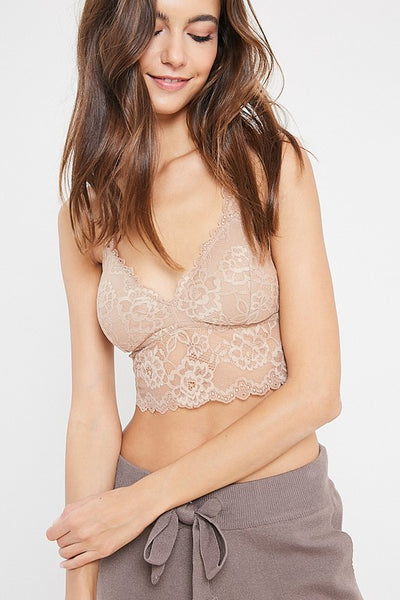 FLORAL LACE PADDED RACERBACK BRALETTE