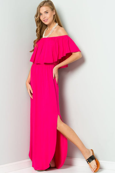 Off Shoulder Maxi Dress with Ruffle