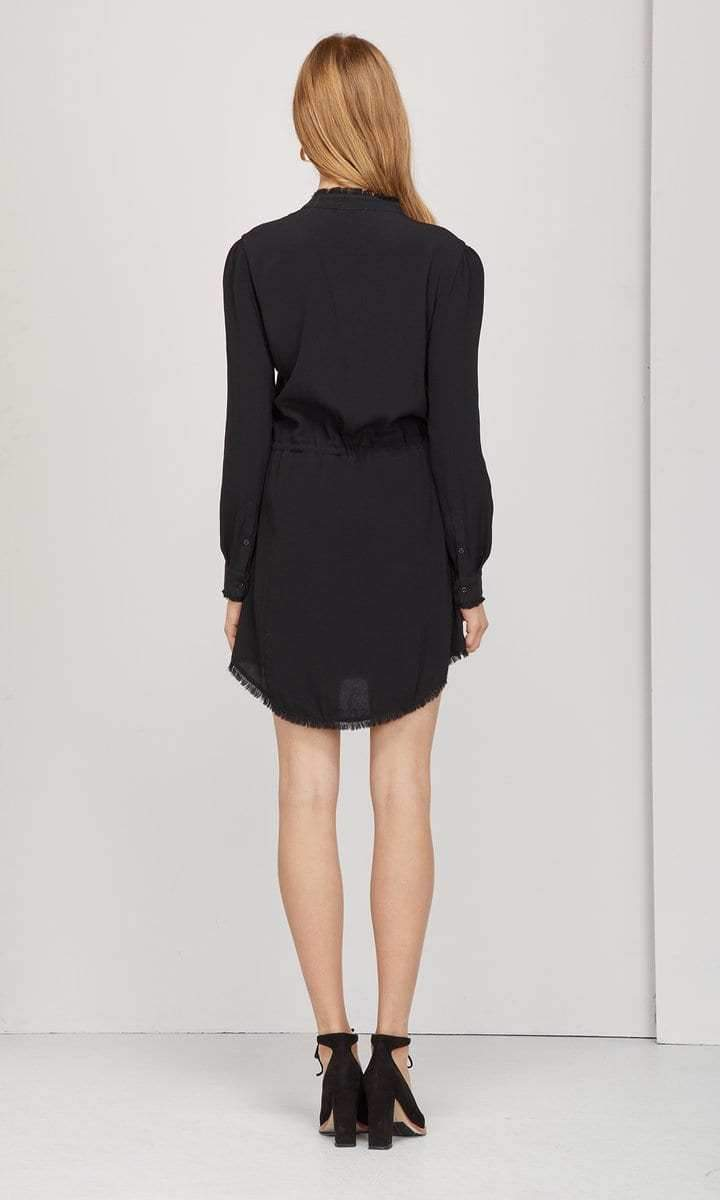 sachi frayed edge button up dress