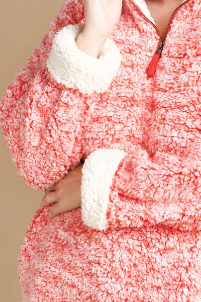 Plus Size Two-Tone Faux Fur Pullover Sweater