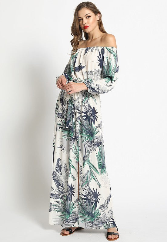 Palm Print Off Shoulder Maxi Dress