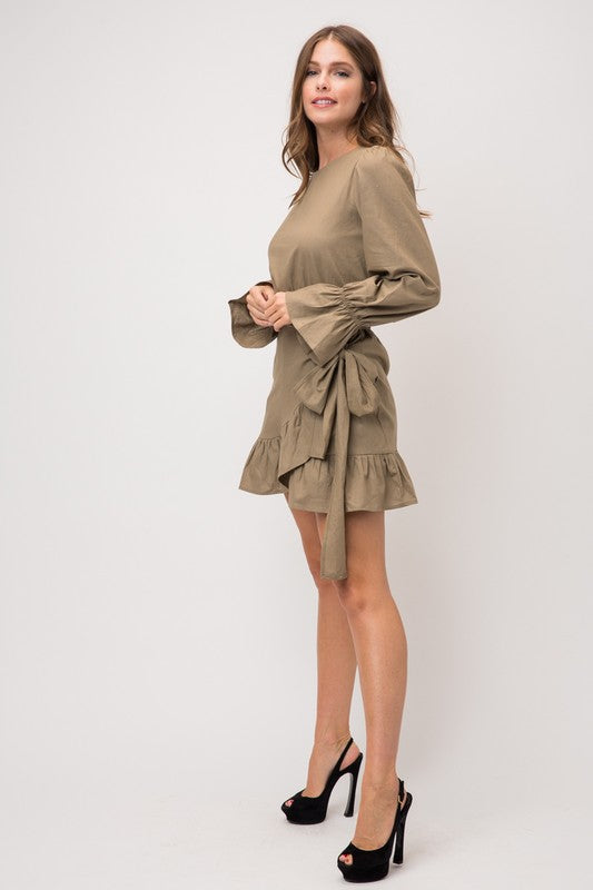 RUFFLED DRESS WITH WRAP SKIRT AND WRAP TIE BELT
