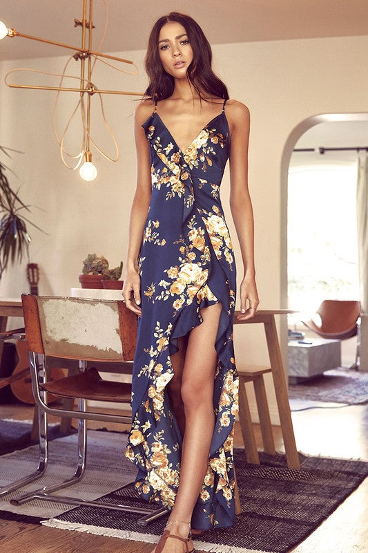 Floral Asymmetrical Ruffle Maxi Dress