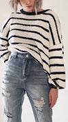 FUZZY STRIPES PULLOVER