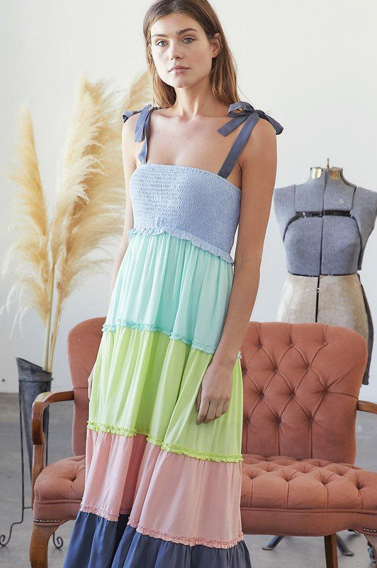 MULTI COLOR BLOCK SMOCKED MAXI DRESS