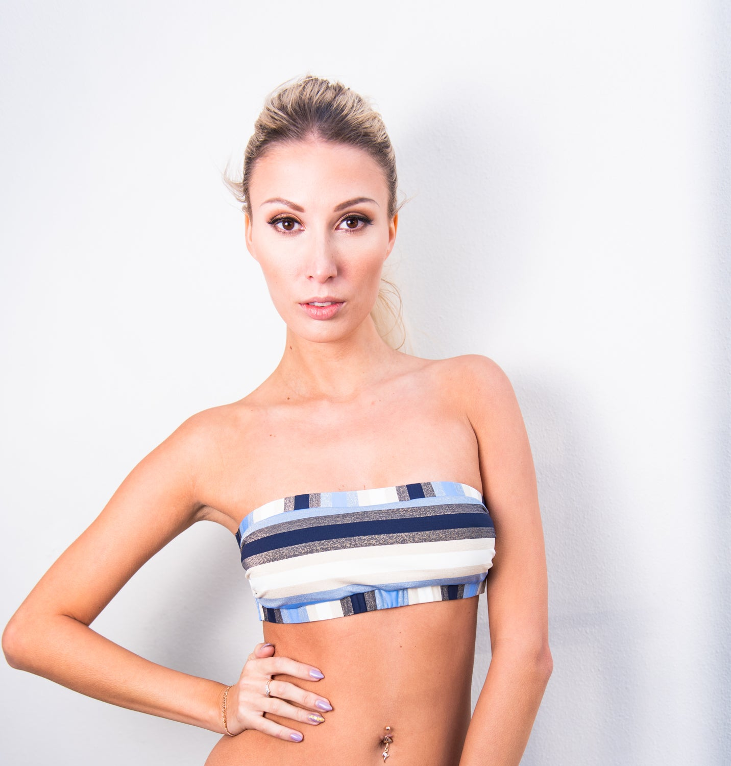 Cancun Stripe Banded Bandeau Top by PilyQ