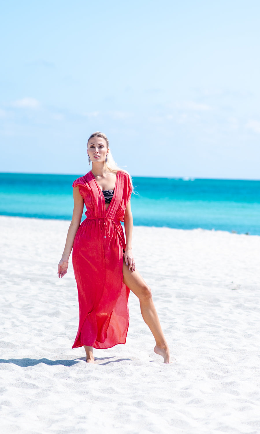 Coral Washed Sage Maxi Dress