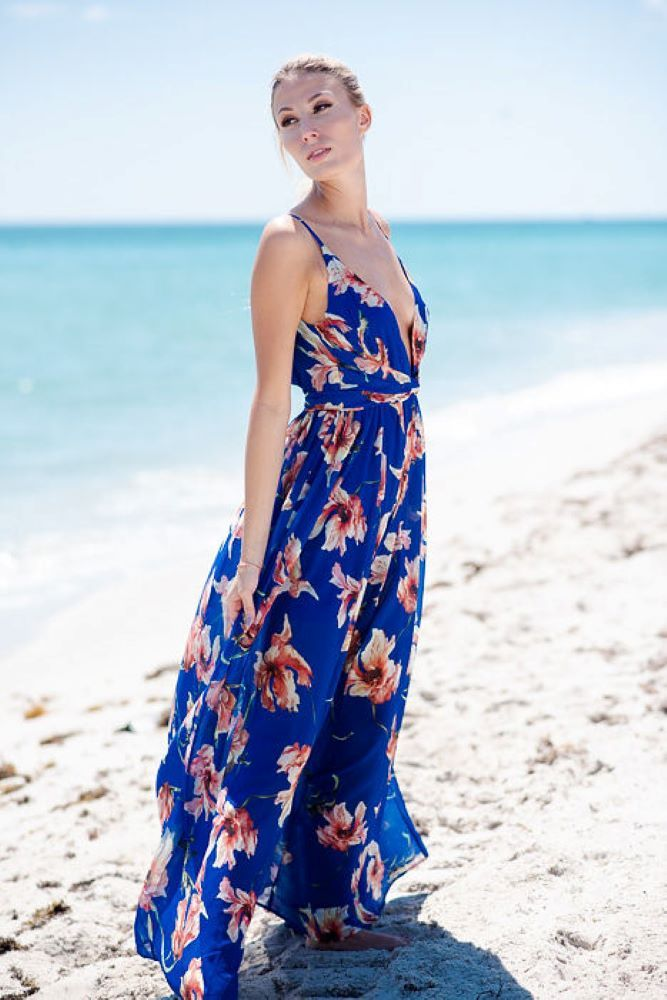 Super Sexy Maxi Dress in Blue Floral
