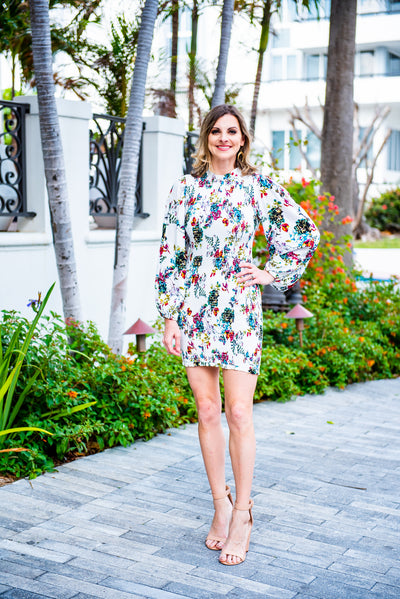 Floral Smocked Body Con Dress