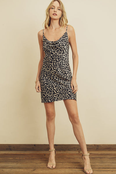 Panther Cowl-Neck Mini Slip Dress