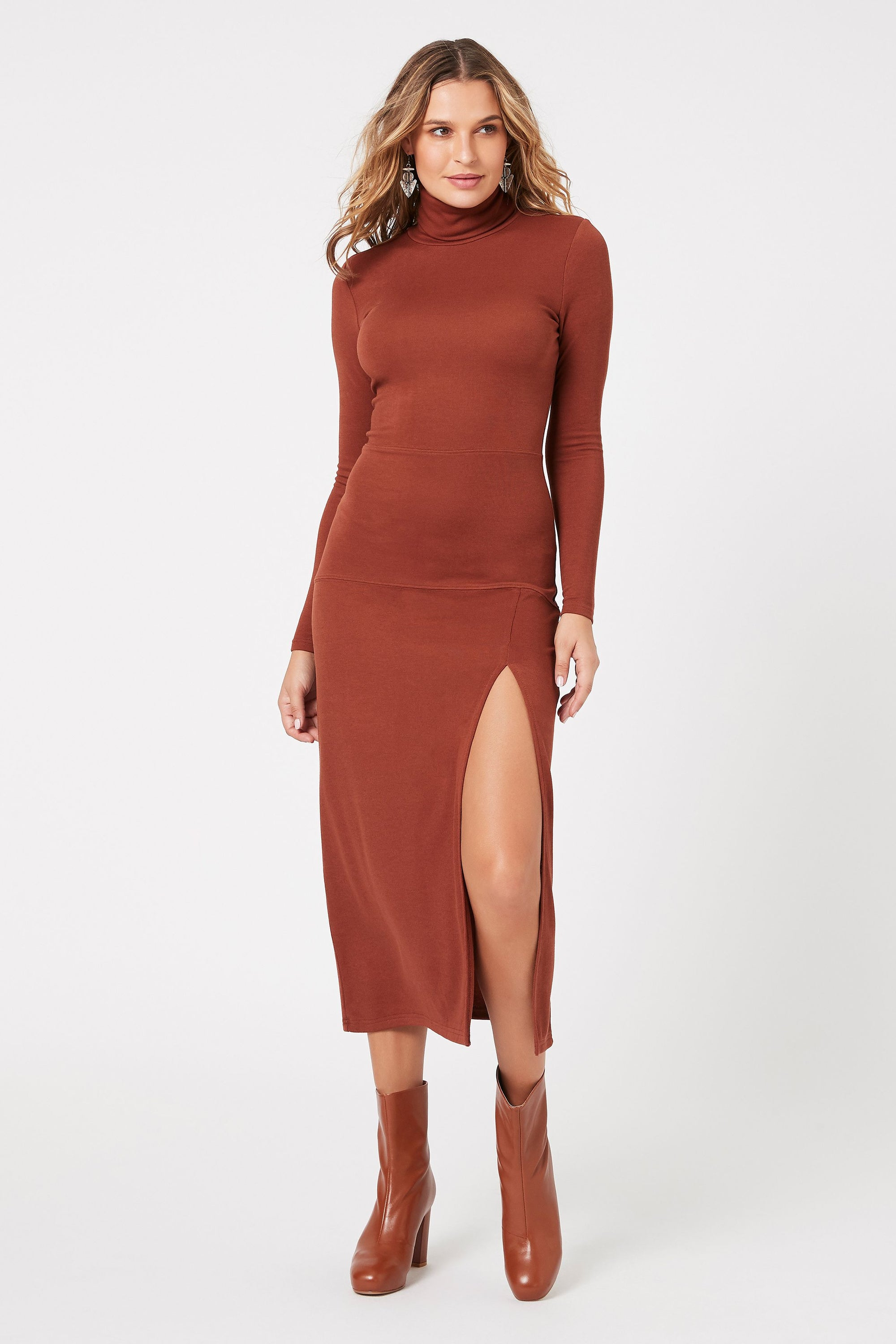 Ara High Neck Midi Dress by MinkPink