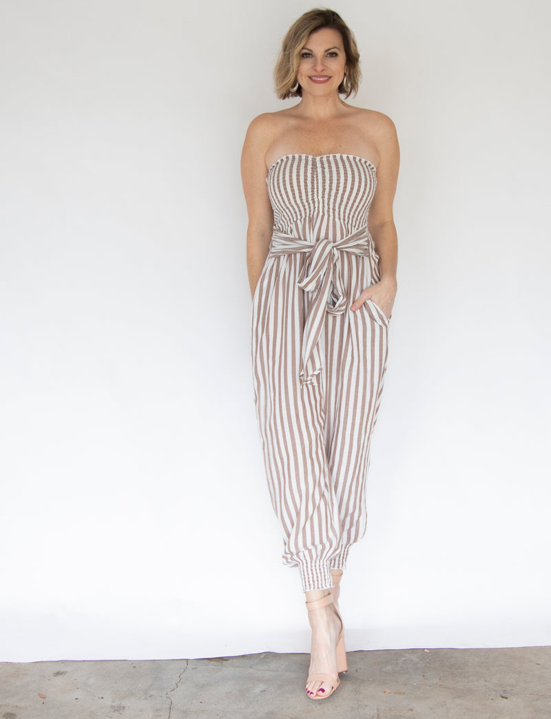 Striped Jumpsuit with Smocked Ankles