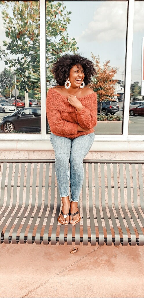Thick Slouchy Knit Sweater in Rust