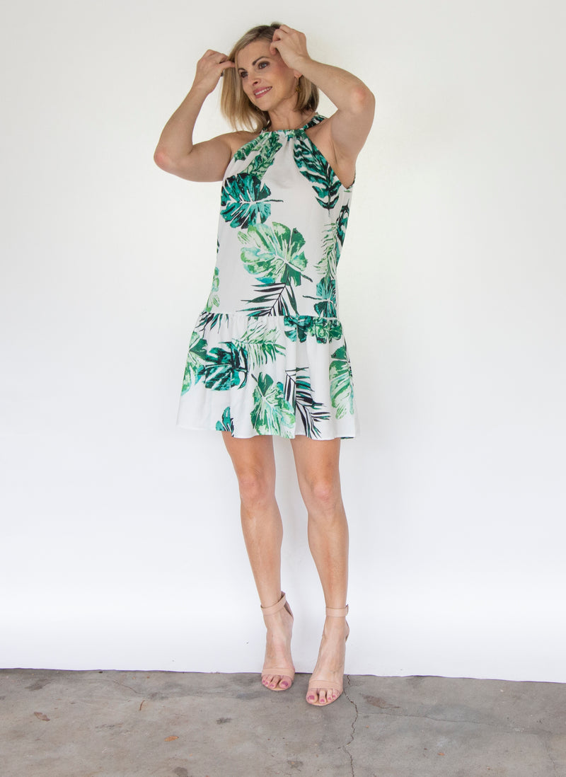 Leaf Print Drawstring Neck Dress