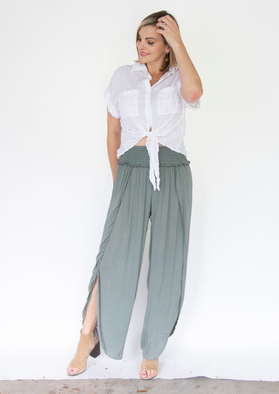 Pants with Center Slit