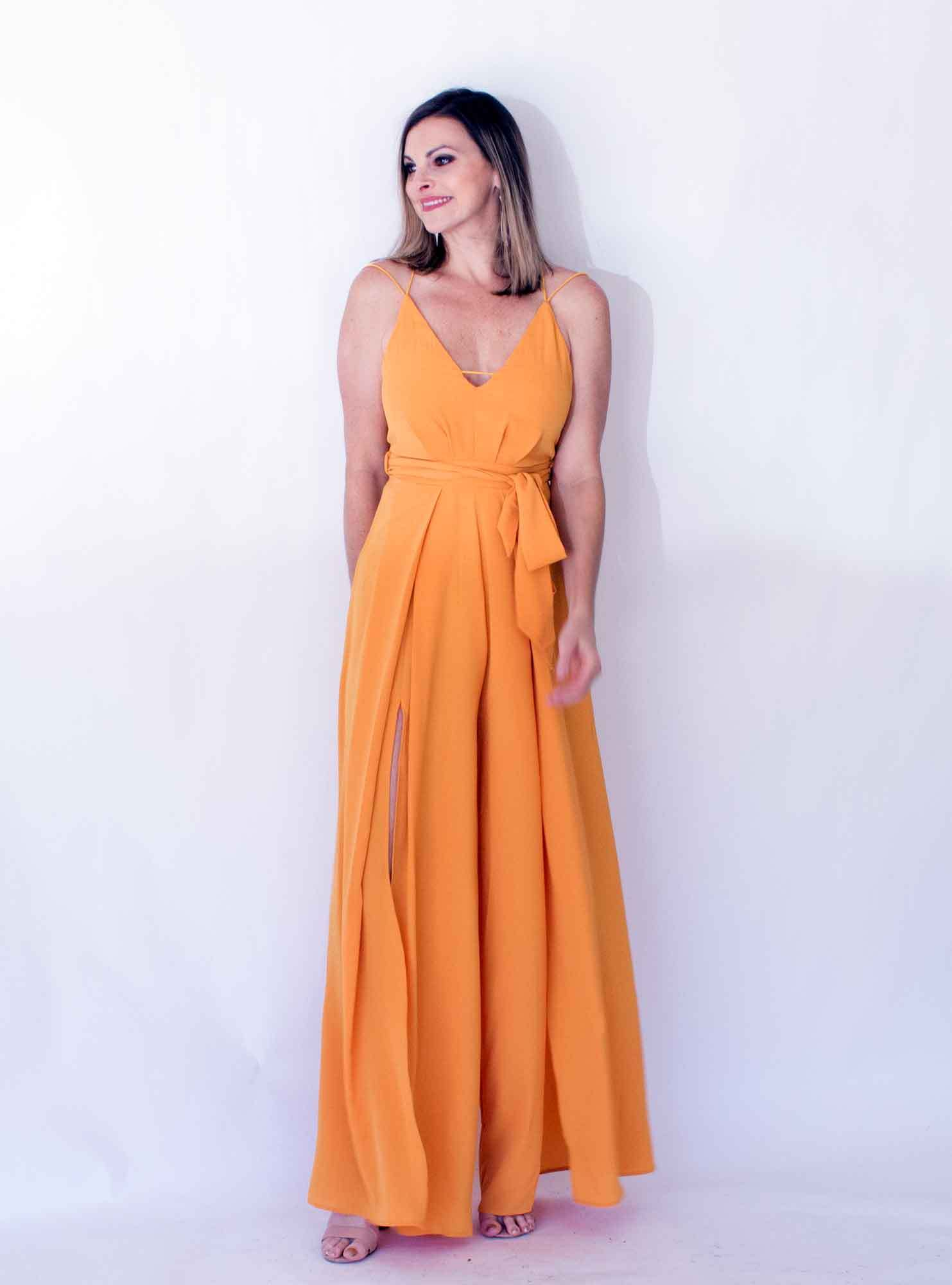 yellow jumpsuit with slits