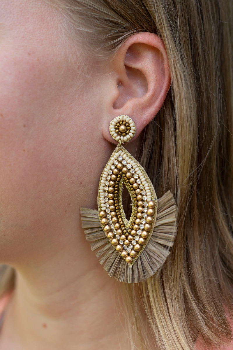 Beaded and Raffia Drop Earrings