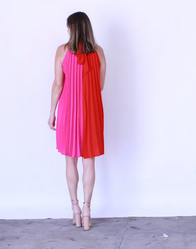 Neon High Neck Pleated Dress