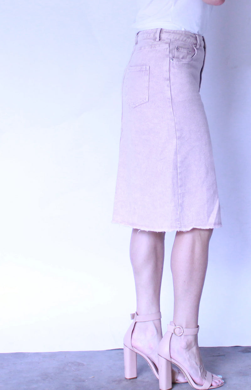 Misty Pink Washed Denim Skirt
