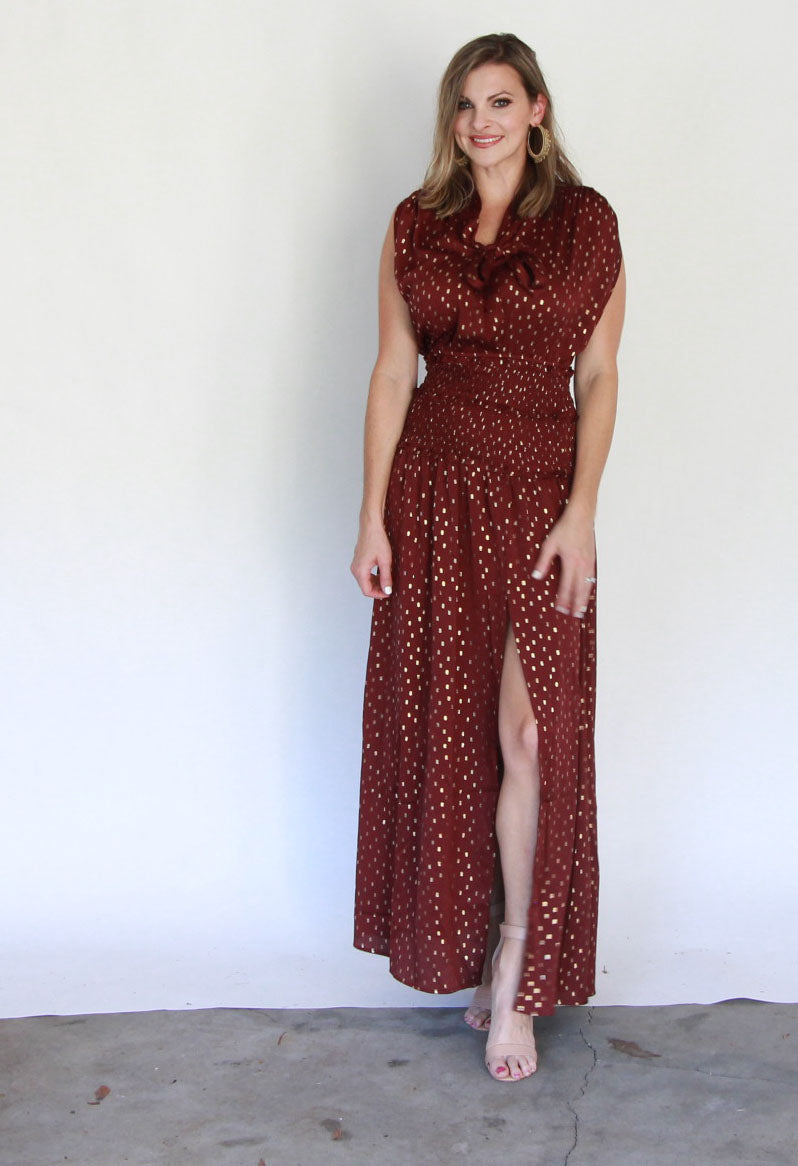 Burgundy & Gold Maxi Dress
