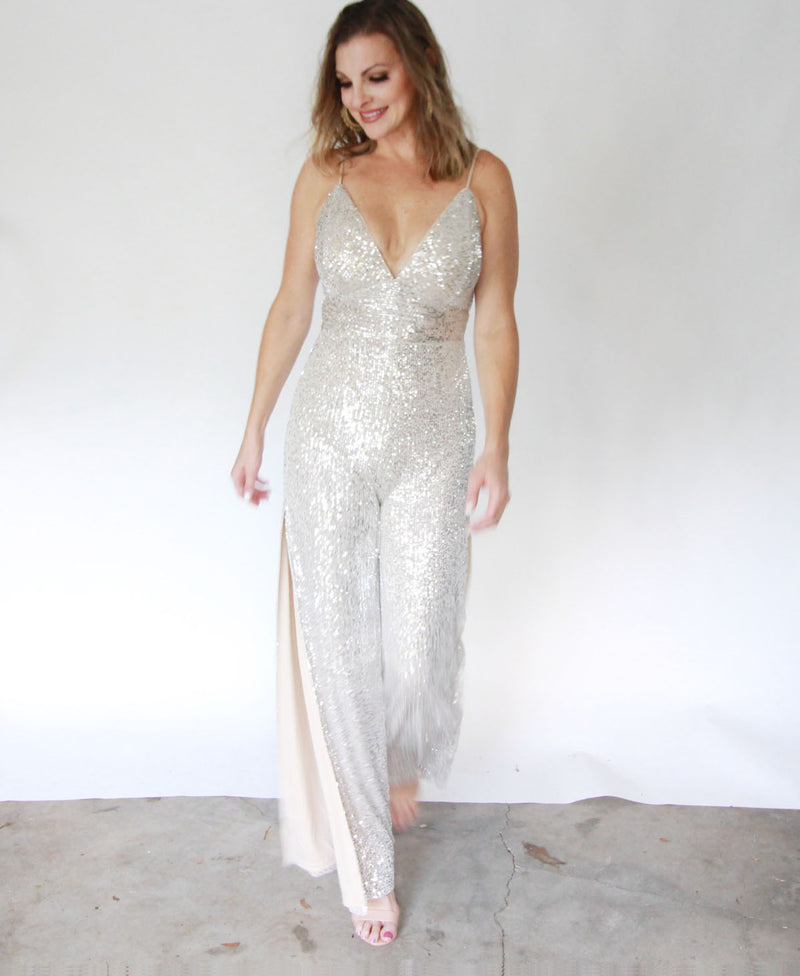 White Gold Sequin Jumpsuit