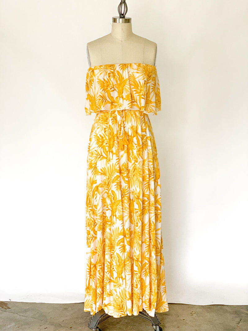 Mustard Yellow Floral Maxi Dress