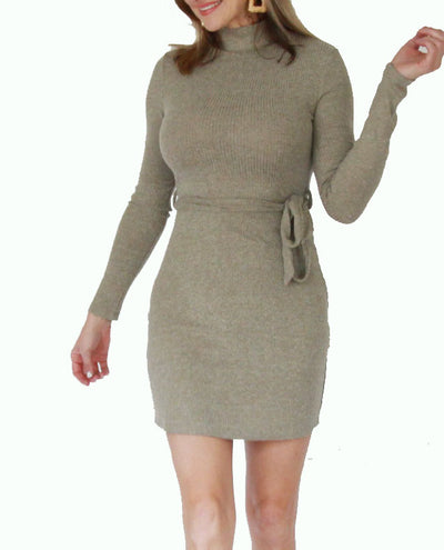 Ribbed Sweater Dress in Sage