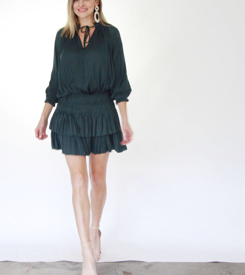 Pleated 3/4 Sleeve Mini Dress