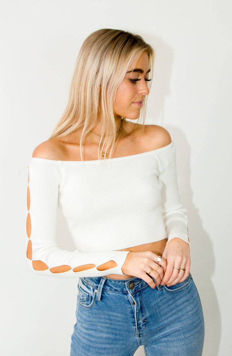 Ribbed Crop Top w/Cut Outs