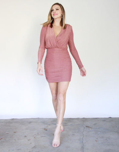 Bodycon Shimmery Dress with Shirring