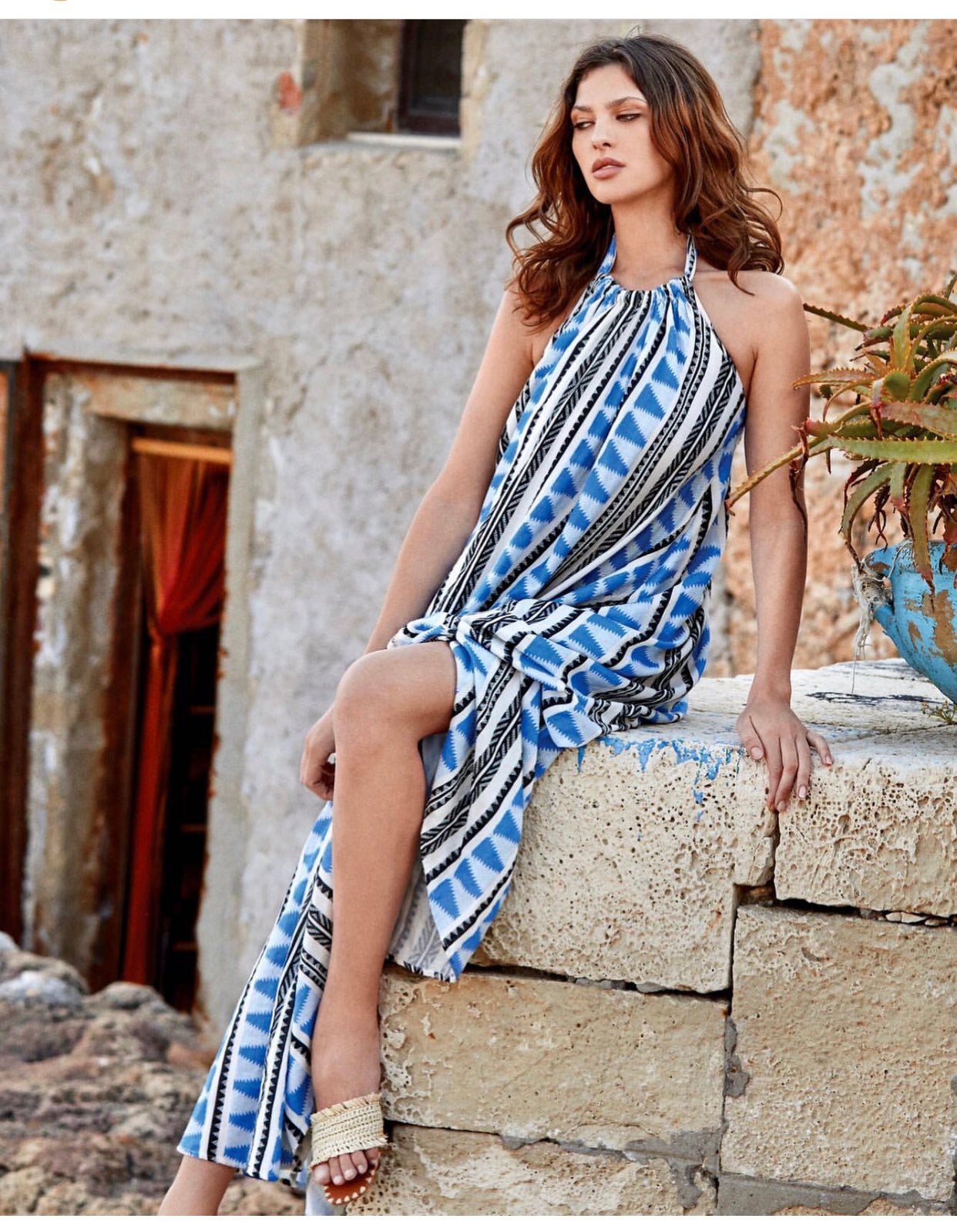 Blue Aztec Halter Maxi Dress