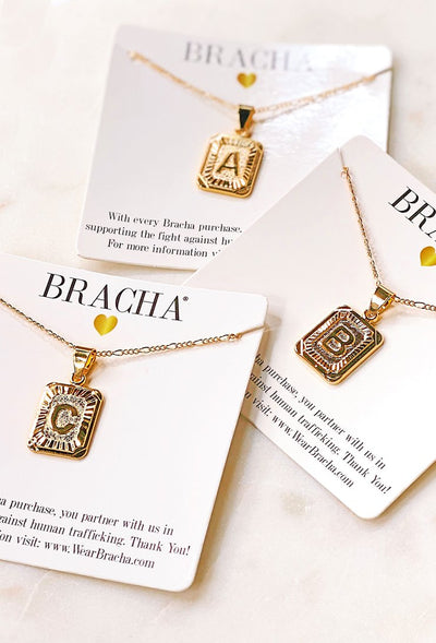 Vintage Inspired Initial Necklace by Bracha